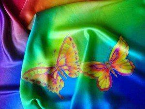 бабочки на шелке