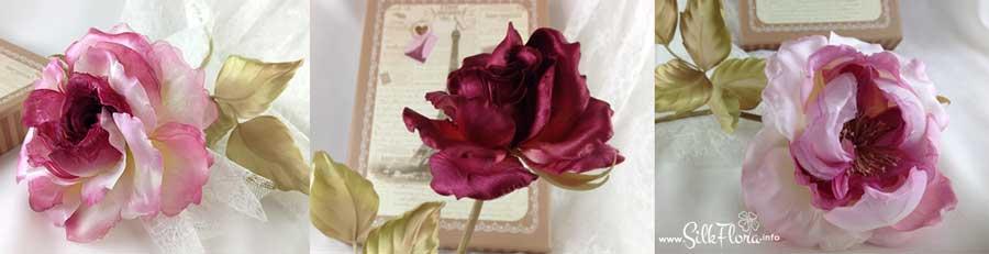 Французские розы из шелка в японской технике Tanjobana