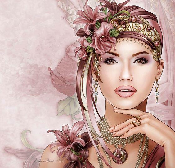 украшение с цветами из шелка by_Sandra_Strohschein
