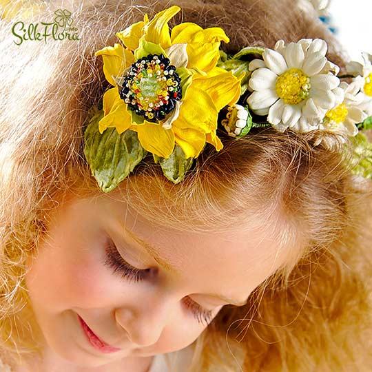 Ободок с цветами из кожи - подсолнух и ромашки