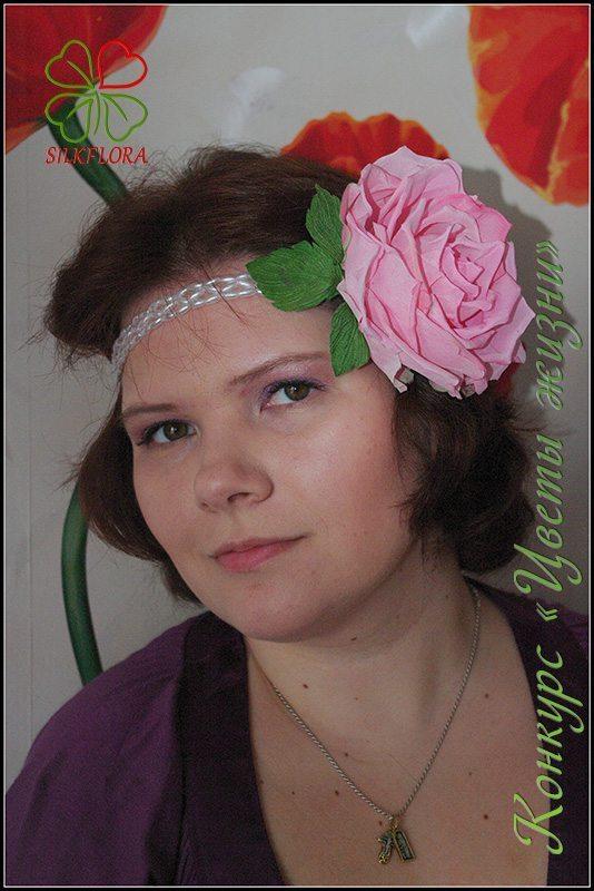 Оксана Хахалина. Украшение для мамы - розовая роза «Маурино»
