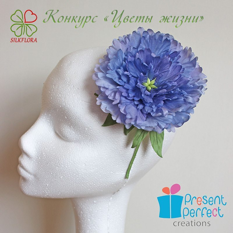 Светлана Фолкнер. Обруч для волос «Голубой пион»