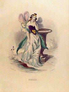 рисованая открытка девушка-мотылек и анютины глазки