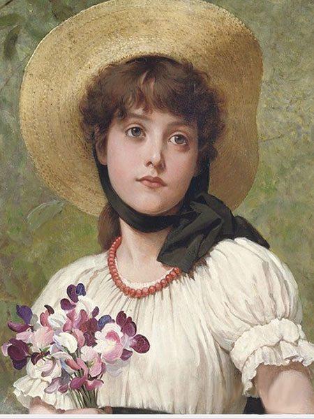 портрет девушки с душистым горошком