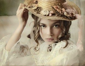 hat & silk flowers