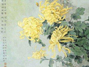 японская живопись - хризантемы