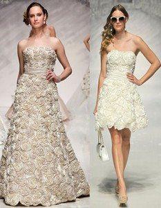свадебные платья с цветами из ткани