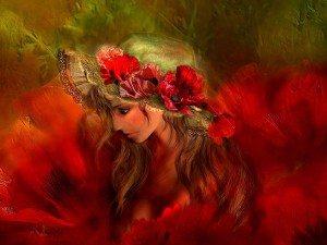 Девушка и цветок фотокартина