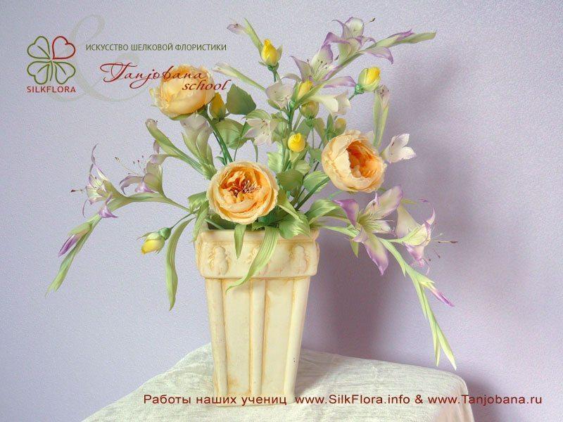 Конкурсный букет цветов из шелка от Елены Морозовой