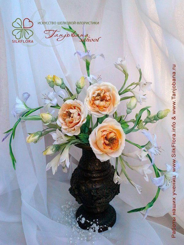 Конкурсный букет цветов из шелка от Натальи Федоровой