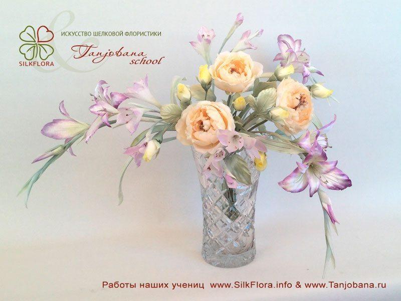 Конкурсный букет цветов из шелка от Натальи Ващенко