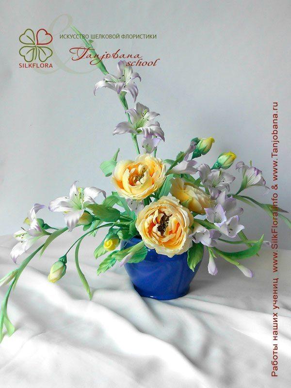 Конкурсный букет цветов из шелка от Натальи Якимовой