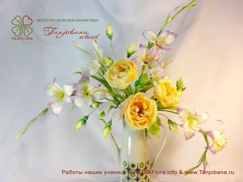 Конкурсный букет цветов из шелка от Ольги Шестаковой