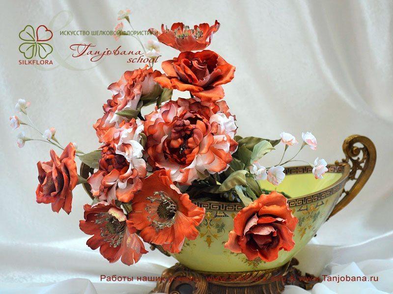 Конкурсный букет цветов из шелка от Анжеллы Сачковой