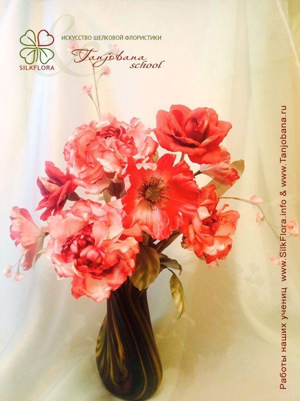 Конкурсный букет цветов из шелка от Елены Анисимовой