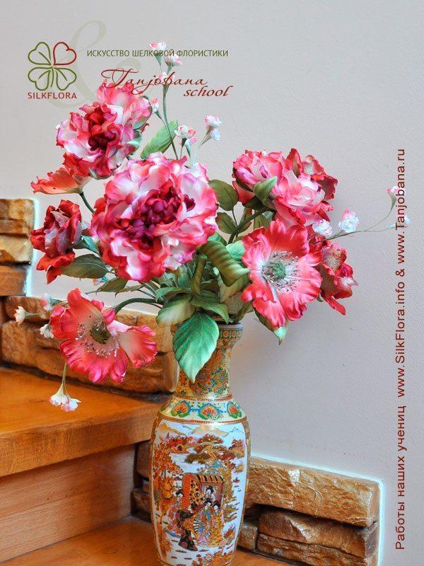 Конкурсный букет цветов из шелка от Галины Гавриленко