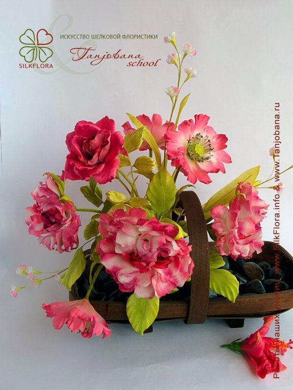 Конкурсный букет цветов из шелка от Жамили Ахметовой