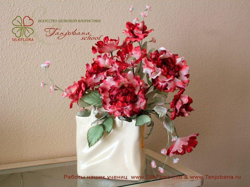 Конкурсный букет цветов из шелка от Марины Земляковой