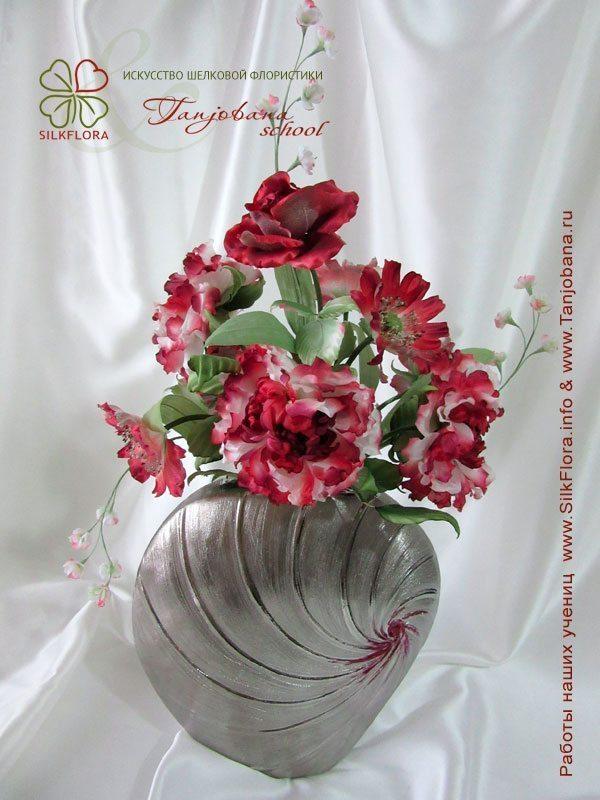 Конкурсный букет цветов из шелка от Виктории Кудиной