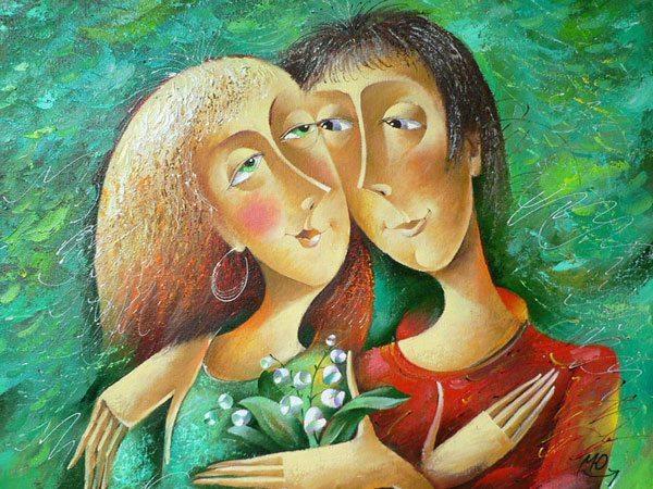 картина: влюбленные с ландышами