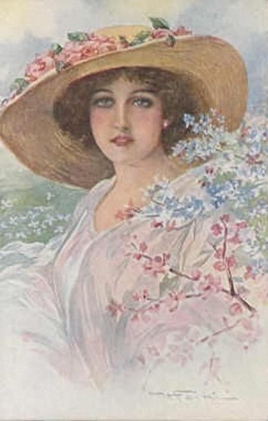 Дама в соломенной шляпе украшенной цветами из шелковой ткани