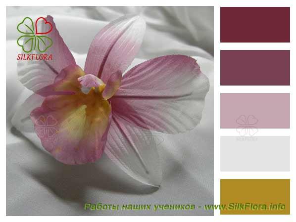 Орхидея из шелка, работа Елены Евсегнеевой