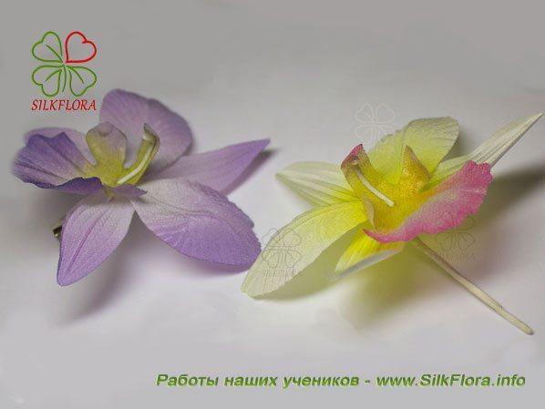 Орхидеи из шелка. Работа Ирины Ситдиковой