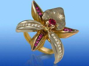 украшение из орхидеи - золотое кольцо