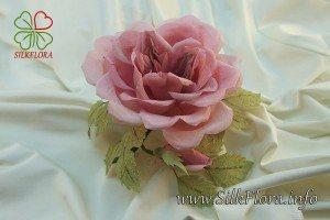 роза винтажная - брошь из ткани - натуральный шелк