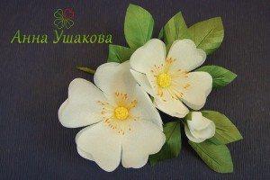 цветок из шелка веточка шиповника, мастер Анна Ушакова