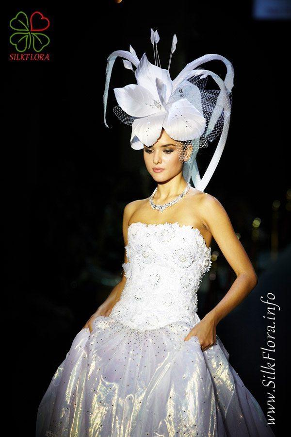 цветок из ткани - украшение для прически невесты