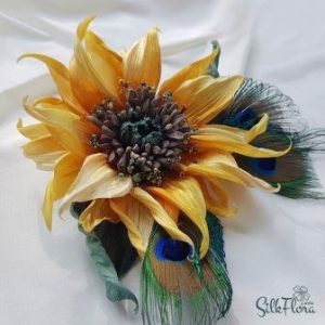 украшение с павлиньими перьями - подсолнух Борсилоно картинка
