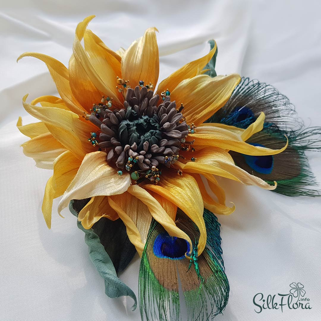 Мастер-класс цветок подсолнуха из шелка - Борсолино.