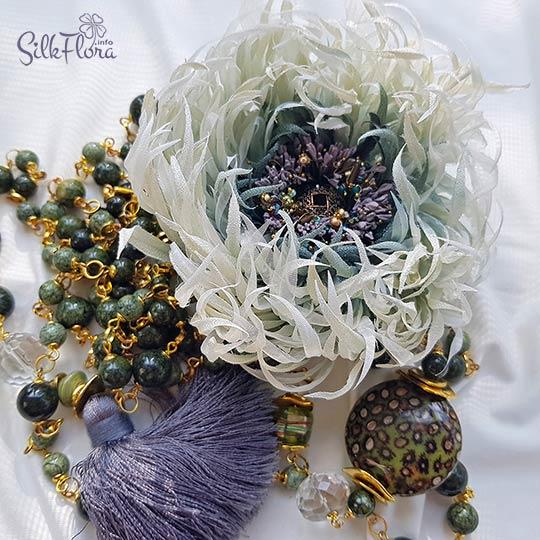 Мастер-класс сутуар с хризантемой из шелка - Лилу