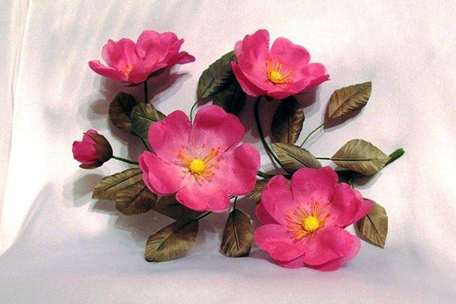 Конкурс шелковых цветов SilkFlora 2011. «Аромат лета» — веточка цветов шиповника из шелка