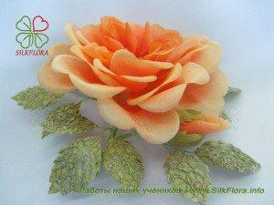 роза из шелка в винтажном стиле