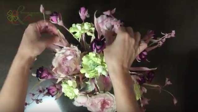 Видео-урок Клуба Tanjobana — сборка букета «Вкус персика» — японская шелковая флористика